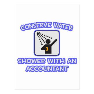 Cartão Postal Conserve a água. Chá com um contador