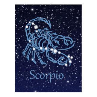 Cartão Postal Constelação da Escorpião & sinal do zodíaco com