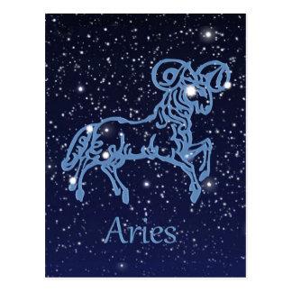Cartão Postal Constelação do Aries e sinal do zodíaco com