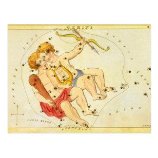 Cartão Postal Constelação do gêmeo dos Gêmeos da astrologia do