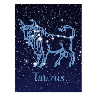 Cartão Postal Constelação do Taurus & sinal do zodíaco com