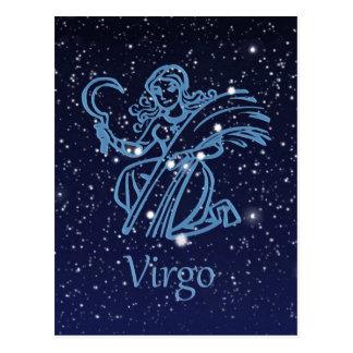Cartão Postal Constelação do Virgo & sinal do zodíaco com