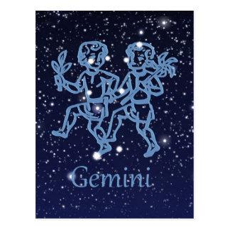 Cartão Postal Constelação dos Gêmeos e sinal do zodíaco com