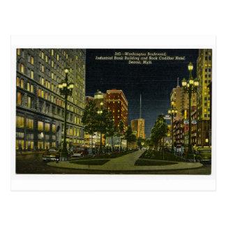Cartão Postal Construção de banco industrial e hotel do cadillac