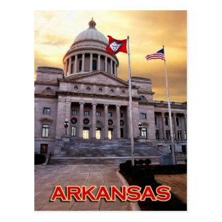 Cartão Postal Construção do Capitólio do estado de Arkansas,