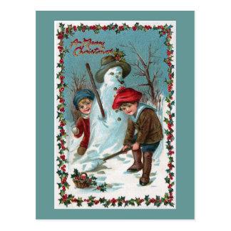 """Cartão Postal """"Construindo vintage do boneco de neve"""""""