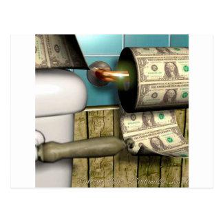 Cartão Postal Contas abstratas do toalete do dólar
