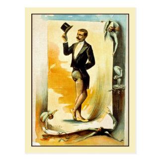 Cartão Postal Contortionist no smoking e no chapéu alto