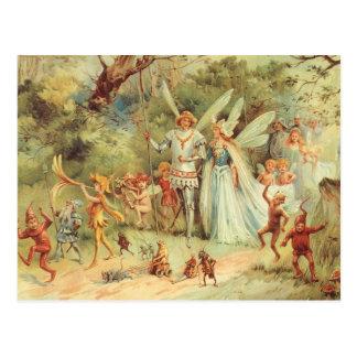 Cartão Postal Contos de fadas do vintage, Thumbelina e príncipe