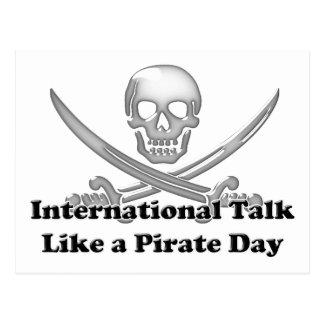 Cartão Postal Conversa internacional como um dia do pirata