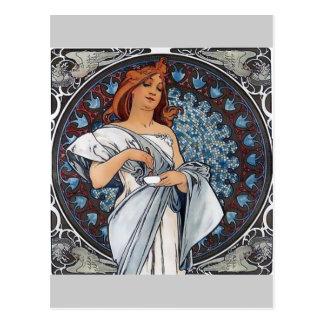 Cartão Postal Copo branco da colher da mulher do vestido da arte