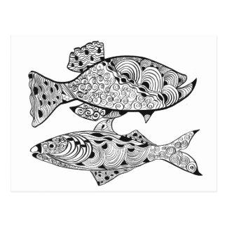 Cartão Postal Cor adulta de DIY no design dos peixes