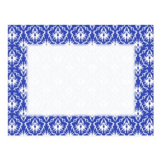 Cartão Postal Cor damasco à moda. Azul e branco