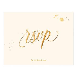 Cartão Postal COR de PixDezines RSVP/FAUX GOLD/FUN SCRIPT/DIY