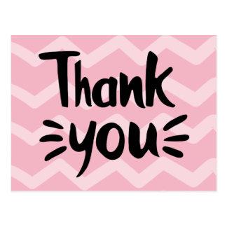 Cartão Postal Cor-de-rosa & cora o obrigado que do preto das