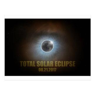 Cartão Postal Cor de texto total da corona do eclipse 2017 solar