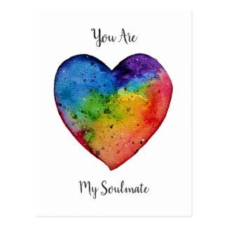 Cartão Postal Coração bonito do arco-íris da aguarela