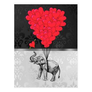 Cartão Postal Coração bonito do elefante e do amor em cinzas