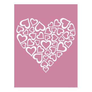 Cartão Postal Coração branco dos corações
