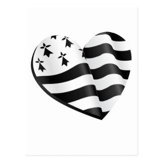 Cartão Postal Coração bretão da bandeira