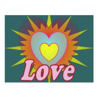 Cartão Postal Coração cor-de-rosa do amor