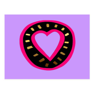 Cartão Postal Coração cor-de-rosa moderno Postcard2 roxo do dia