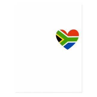 Cartão Postal coração da bandeira de África do Sul