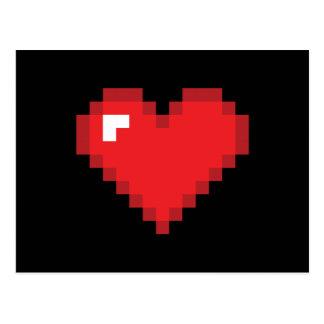Cartão Postal coração de 8 bits