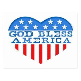 Cartão Postal Coração de América dos deus abençoe