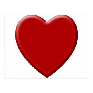 Cartão Postal Coração de amor vermelho