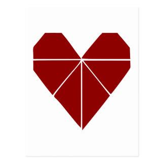 Cartão Postal Coração de Origami