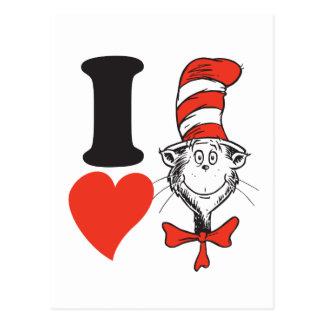 Cartão Postal Coração do Dr. Seuss Namorados | I o gato no