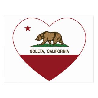 Cartão Postal coração do goleta da bandeira de Califórnia