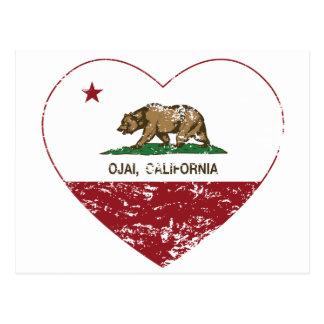 Cartão Postal coração do ojai da bandeira de Califórnia afligido