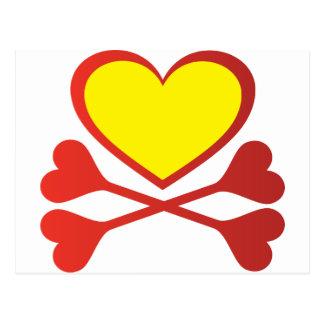 Cartão Postal Coração e Crossbones