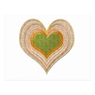 Cartão Postal Coração esmeralda romântico do ouro