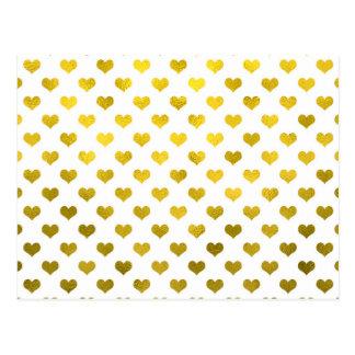 Cartão Postal Coração metálico do ponto de Polk dos corações da