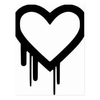 Cartão Postal Coração preto do gotejamento de Heartbleed