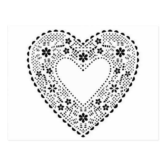 Cartão Postal Coração preto e branco do laço