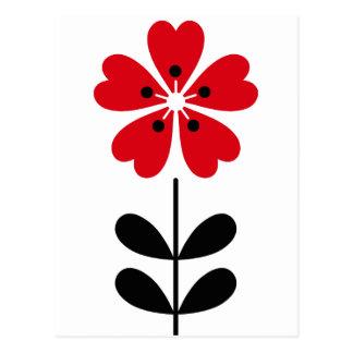 Cartão Postal Coração retro flor dada forma no vermelho