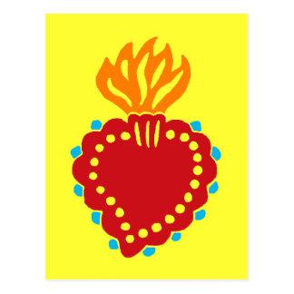 Cartão Postal Coração sagrado da arte popular mexicana