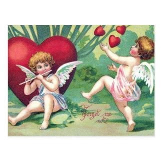 Cartão Postal Corações bonitos retros dos namorados do vintage