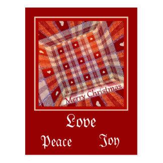 Cartão Postal Corações Checkered