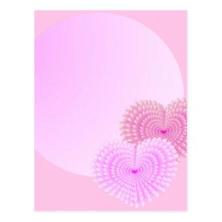 Cartão Postal Corações cor-de-rosa