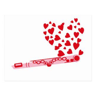 Cartão Postal Corações da flauta