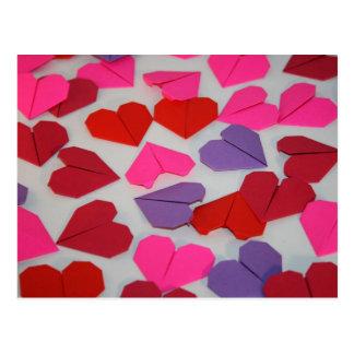 Cartão Postal Corações de Origami
