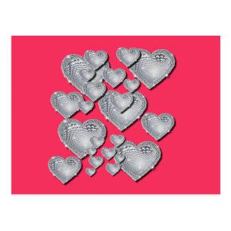Cartão Postal Corações de prata Sparkly