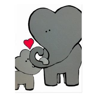 Cartão Postal Corações do elefante - um amor inesquecível