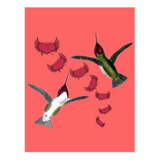 Cartão Postal Corações do Grunge dos pássaros do zumbido com