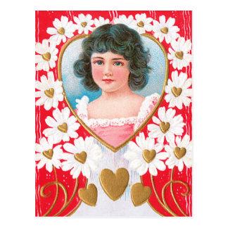 Cartão Postal Corações dourados e margaridas brancas